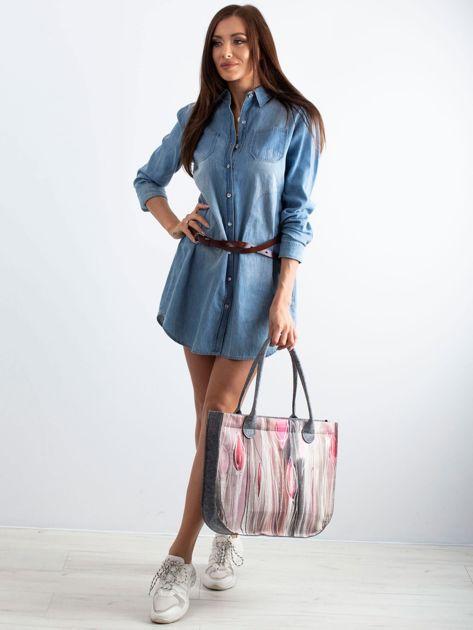 Szaro-różowa torba filcowa z nadrukiem                              zdj.                              4