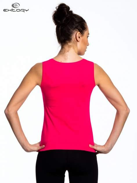 Szaro-różowy top sportowy w paski z karczkiem                                  zdj.                                  3
