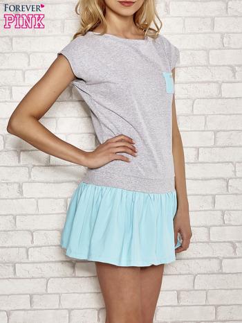 Szaro-turkusowa dresowa sukienka tenisowa z kieszonką                                  zdj.                                  3