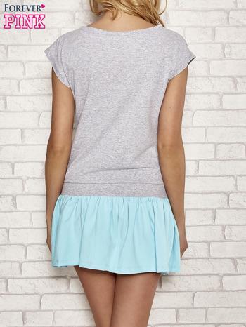 Szaro-turkusowa dresowa sukienka tenisowa z kieszonką                                  zdj.                                  4