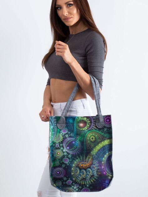 Szaro-zielona filcowa torba z nadrukiem