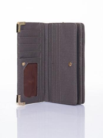 Szary ażurowany portfel ze złotymi okuciami                                  zdj.                                  4