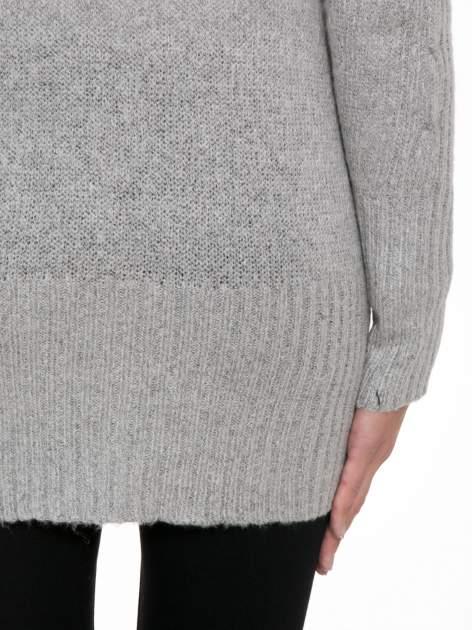 Szary ażurowy długi sweter typu kardigan                                  zdj.                                  9