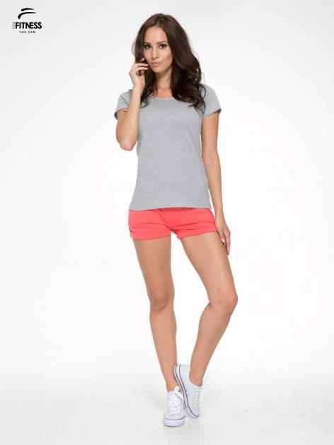 Szary bawełniany t-shirt damski typu basic                                  zdj.                                  5
