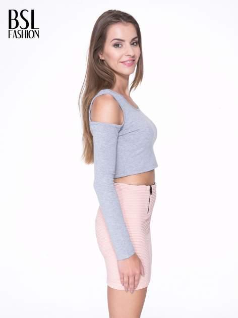 Szary crop top z rękawami cut out                                  zdj.                                  3