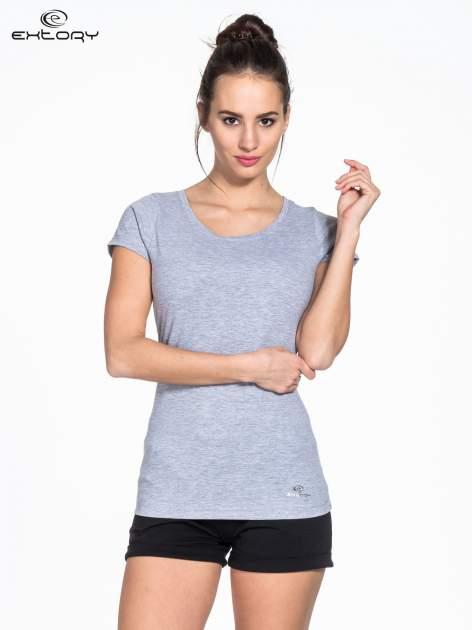 Szary damski t-shirt sportowy basic PLUS SIZE