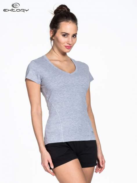 Szary damski t-shirt sportowy z modelującymi przeszyciami                                  zdj.                                  3