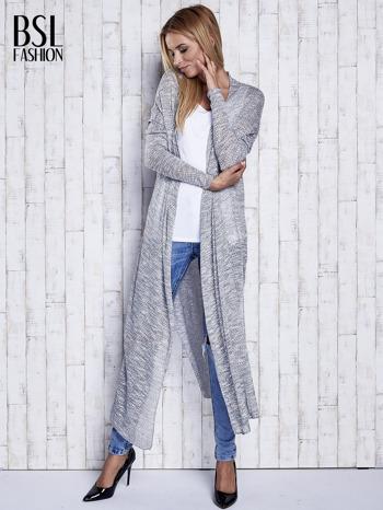 Szary długi sweter wzór melanżowy                                  zdj.                                  3