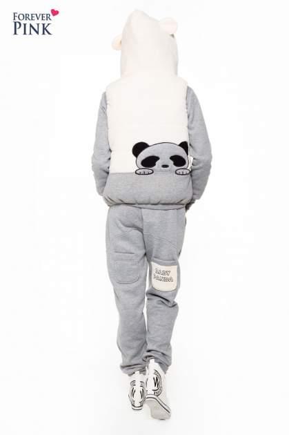 Szary dresowy komplet z motywem pandy                                  zdj.                                  3