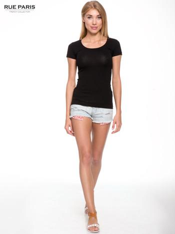 Czarny gładki t-shirt                                  zdj.                                  4