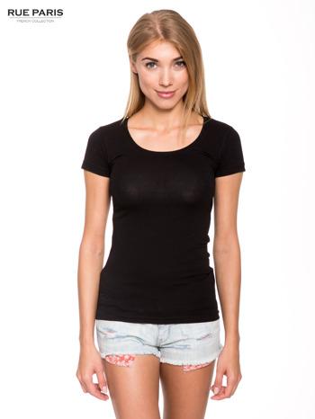 Czarny gładki t-shirt                                  zdj.                                  1