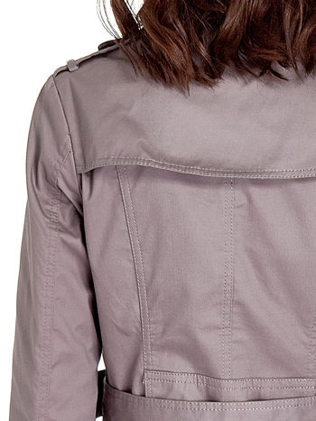 Szary klasyczny płaszcz typu trencz                                  zdj.                                  7