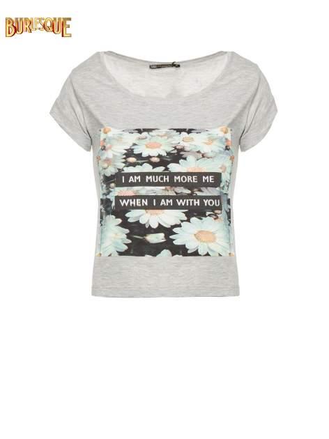 Szary krótki t-shirt z nadrukiem stokrotek i napisem                                  zdj.                                  1