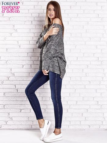 Szary melanżowy sweter oversize o kroju nietoperz                                  zdj.                                  2