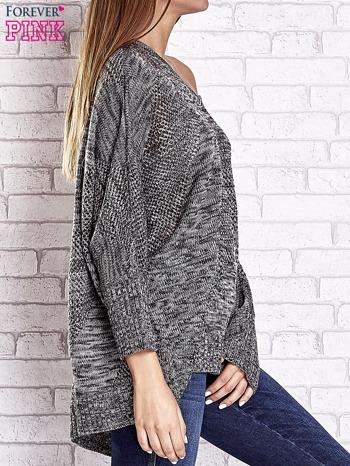 Szary melanżowy sweter oversize o kroju nietoperz                                  zdj.                                  4