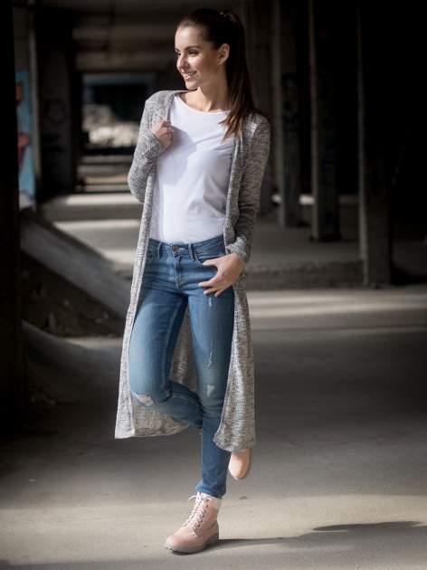 Szary melanżowy sweter typu długi kardigan                                  zdj.                                  11