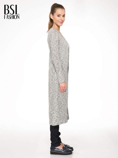 Szary melanżowy sweter typu długi kardigan                                  zdj.                                  3