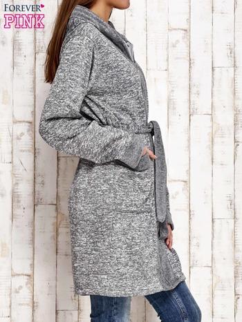 Szary melanżowy sweter z kapturem                                  zdj.                                  3