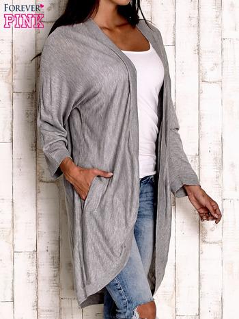 Szary otwarty sweter z kieszeniami                                  zdj.                                  2