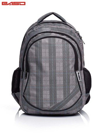 Szary plecak szkolny w kratkę