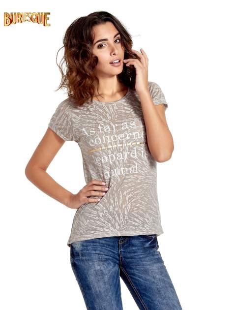 Szary półtransparentny t-shirt z napisem                                  zdj.                                  1
