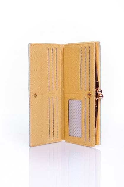 Szary portfel z biglem efekt saffiano                                   zdj.                                  3