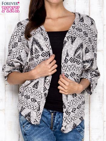 Szary sweter w azteckie wzory                                  zdj.                                  1