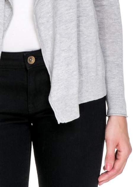 Szary sweterek kardigan o kaskadowym fasonie                                  zdj.                                  6