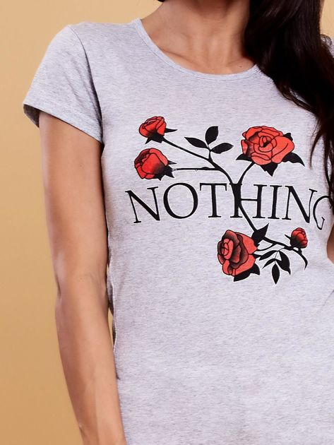 Szary t-shirt damski NOTHING                              zdj.                              5