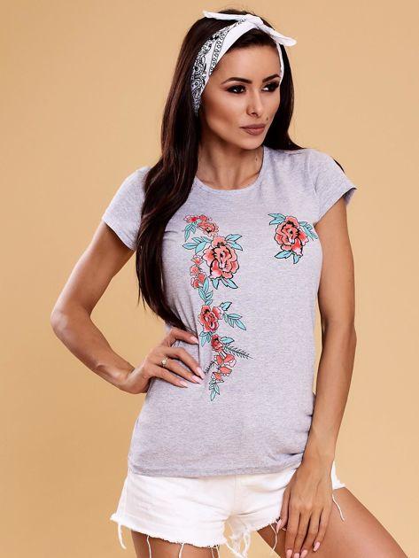 Szary t-shirt damski w kwiaty                              zdj.                              1