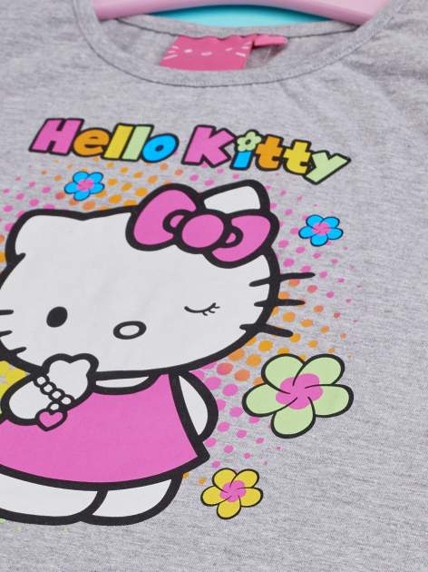 Szary t-shirt dla dziewczynki HELLO KITTY z wiązaniem na dole                                  zdj.                                  4