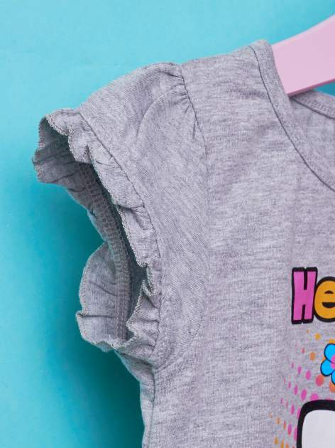 Szary t-shirt dla dziewczynki HELLO KITTY z wiązaniem na dole                                  zdj.                                  6