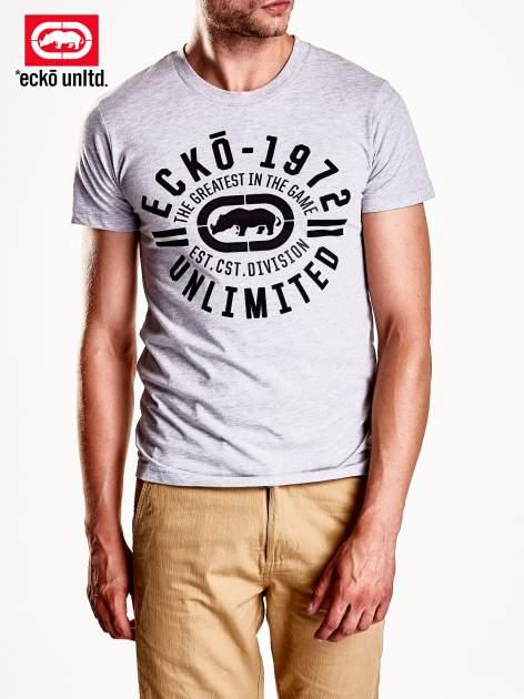 Szary t-shirt męski z czarnym logiem                                  zdj.                                  4