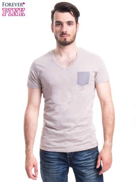 Szary t-shirt męski z kieszonką                                  zdj.                                  1