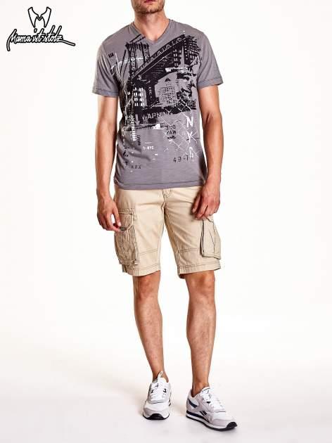 Szary t-shirt męski z miejskim nadrukiem                                  zdj.                                  8