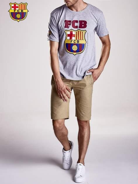 Szary t-shirt męski z motywem FC BARCELONA                                  zdj.                                  9