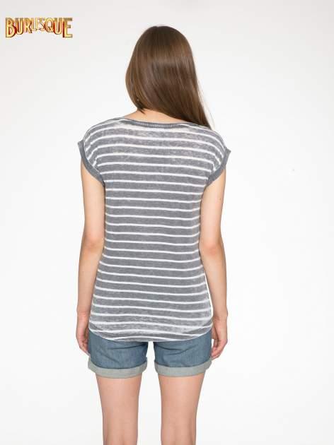 Szary t-shirt w paski z napisem FIRENZE TOSCANA                                  zdj.                                  4