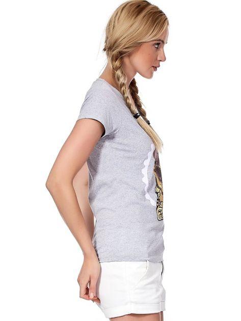 Szary t-shirt z buldogiem                              zdj.                              3