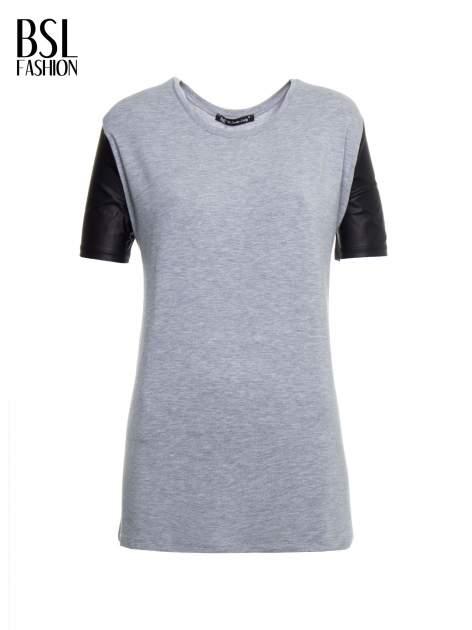 Szary t-shirt z czarnymi skórzanymi rękawami                                  zdj.                                  2