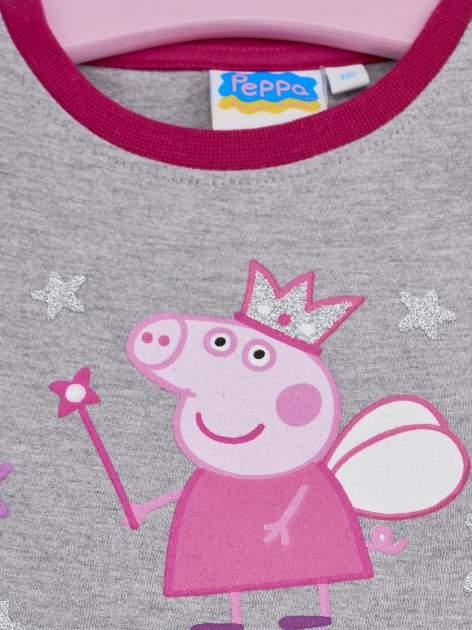 Szary t-shirt z falbankami na rękawach dla dziewczynki ŚWINKA PEPPA                                  zdj.                                  3