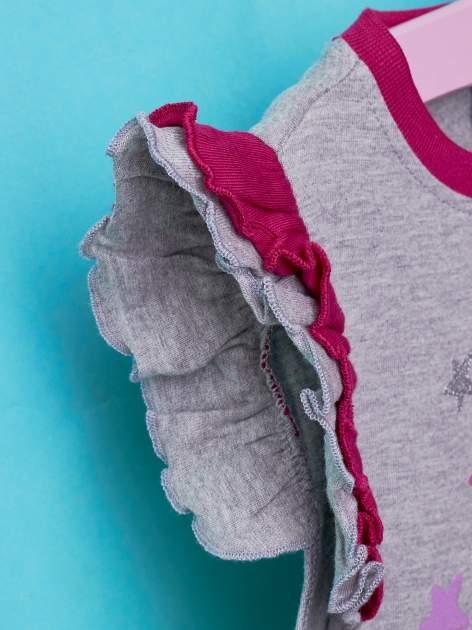 Szary t-shirt z falbankami na rękawach dla dziewczynki ŚWINKA PEPPA                                  zdj.                                  5