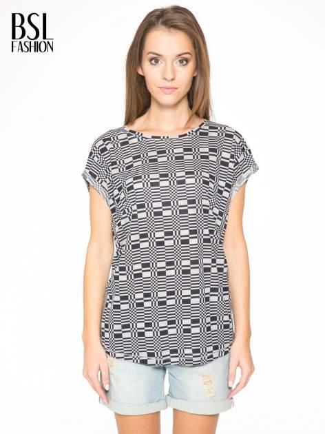 Szary t-shirt z geometrycznym nadrukiem                                  zdj.                                  1