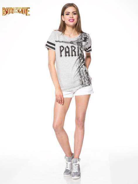 Szary t-shirt z motywem Paryża