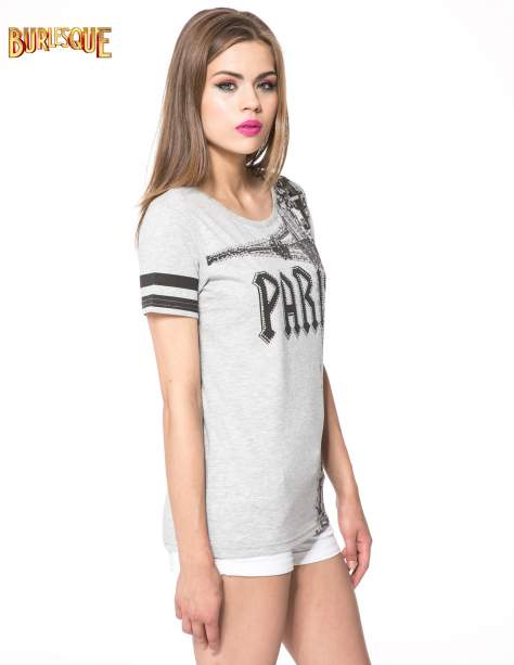 Szary t-shirt z motywem Paryża                                  zdj.                                  3