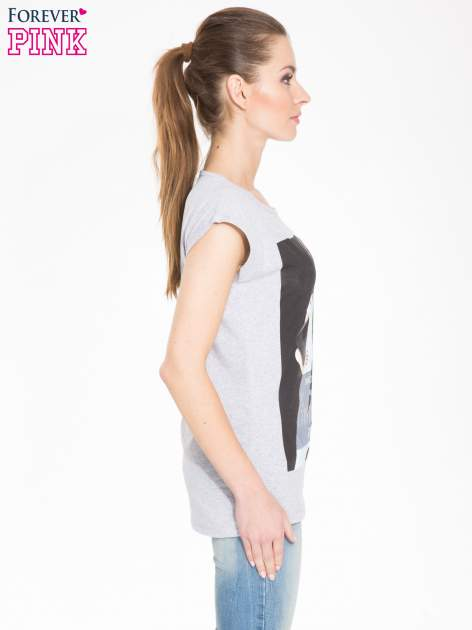 Szary t-shirt z nadrukiem I'M NOT PERFECT BUT I AM LIMITED EDITION                                  zdj.                                  2