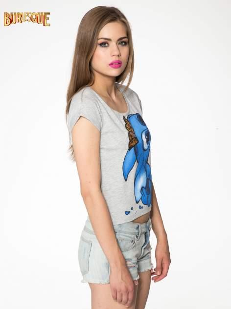 Szary t-shirt z nadrukiem Stich                                  zdj.                                  3