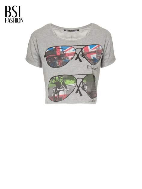 Szary t-shirt z nadrukiem awiatorów z motywem ENGLAND/ITALY                                  zdj.                                  2