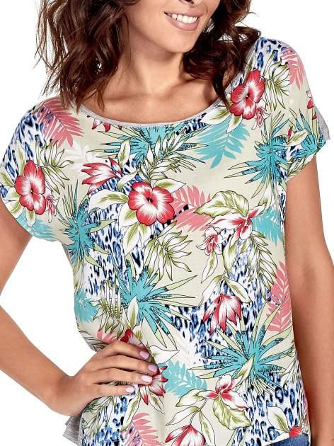 Szary t-shirt z nadrukiem floral print                                  zdj.                                  5