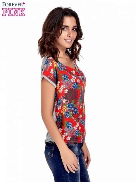 Szary t-shirt z nadrukiem kwiatowym                                  zdj.                                  3