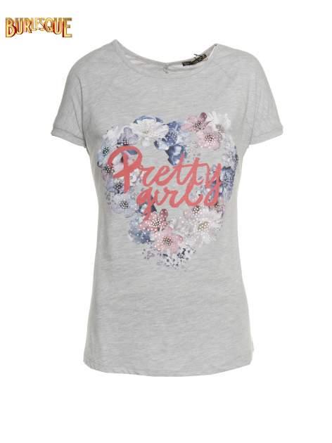 Szary t-shirt z nadrukiem kwiatowym PRETTY GIRL                                  zdj.                                  1